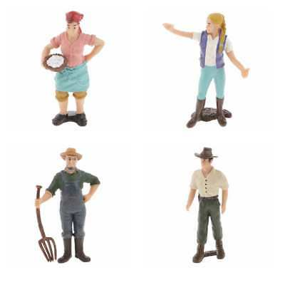 4x Realistic Male Farmer People Figurine Model Figure Kids Toy Collectibles