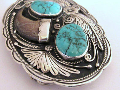 Michael Perry Navajo American Sterling Silver turquoise Belt Buckle