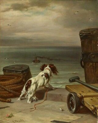Spaniel Dog at Jetty Looking for Ship 1916 Carl Johann Arnold 6x5 Inch Print