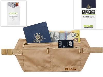 Korjo Anti Scan RFID Travel Pouch Money Belt Bag or Credit Card/Passport Sleeves