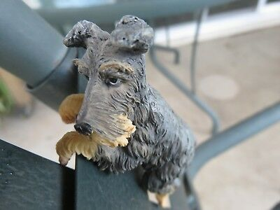 Collectible Dog Figurine Molded Resin Schnauzer Begging Hanging