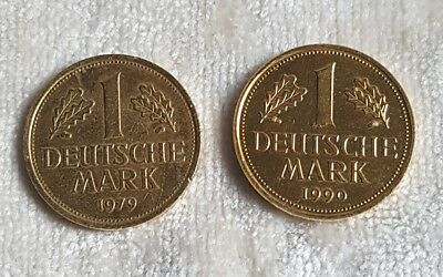 2 x 1 DM-Münze vergoldet 1990 D - 1979 J Deutsche Mark