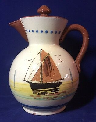 Vintage Torquay Devon Watcombe Art Pottery Ware Hot Water Pot Sailing Ship