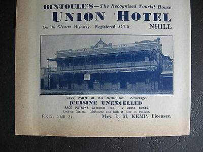 Union Hotel Nhill L M Kenp Licensee 1948 Advert.