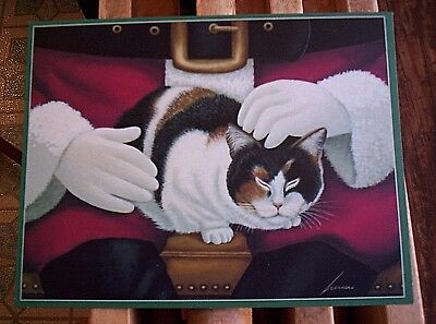 21 Calico Cat on Santa's Lap Christmas Cards by Lowell Herrero  Lang Cards NIB