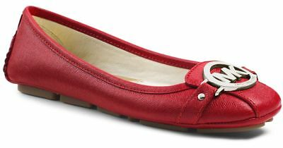 398021cdc9d6 Michael Kors Fulton Red Scarlet Sexy Mk Silver Logo Moccasins I Love Shoes