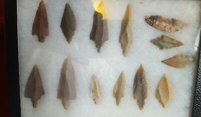 13 African Neolithic Stone Projectile Points Arrowhead Lot Sahara Desert