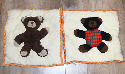 """2 Cracker Barrel 3-D Bear Square Pillow Case 15.5"""" Lot Ivory with brown bear"""