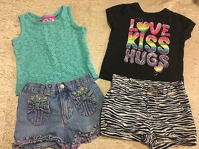 Lot 4 pc. Toddler Girls size 2T (24 Months) shirt & Shorts Very Nice