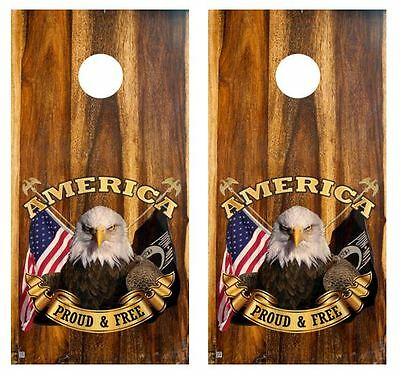 Patriotic Cornhole Board Decal Wraps w//FREE APPL SQUEEGEE #943