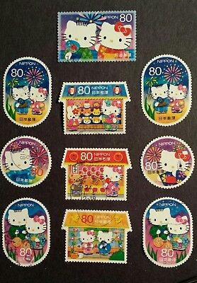 SC# 3444 a-h SET y80 2012 HELLO KITTY & DEAR DANIEL JAPAN STAMPS USED OFF PAPER