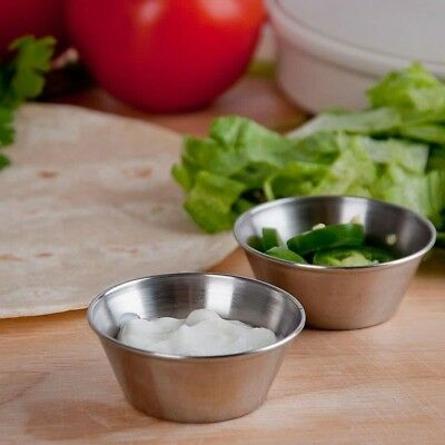 Sauce Cup Stainless Steel Restaurant Condiment Dipping Cups 1.5 Oz. (Pack of 24)