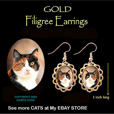CALICO SHORTHAIR CAT - GOLD FILIGREE EARRINGS Jewelry