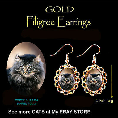 MAINE COON Cat - GOLD FILIGREE EARRINGS Jewelry