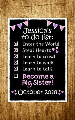 TO DO LIST chalk look PREGNANCY ANNOUNCEMENT print photo prop BIG BROTHER SISTER