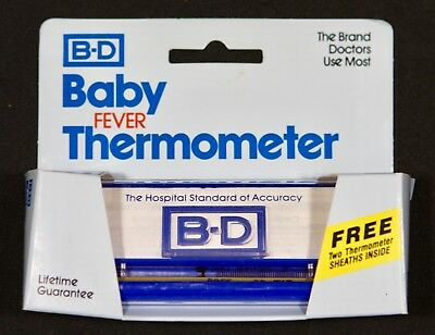 Vintage B-D Baby Glass Fever Thermometer, New, old stock
