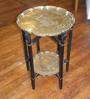VINTAGE 1920s FOLDING WOOD BASE CHINESE 2-TIER TABLE WITH ENGAVED BRASS TRAYS