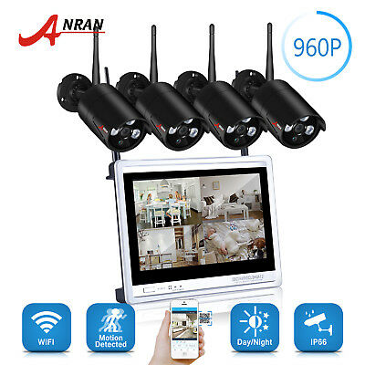 """ANRAN 960P 4CH HD Outdoor Wireless Security System 4PCS WiFi IP Camera 12""""LCD-M"""
