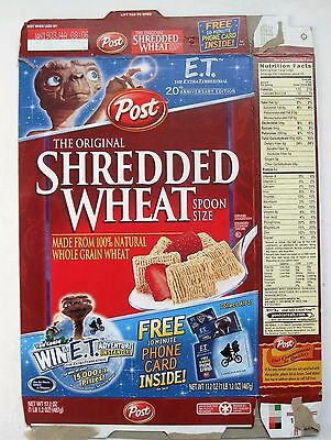 ET Extraterrestrial Empty POST Cereal Box 2002 Shredded Wheat 20th Anniversary