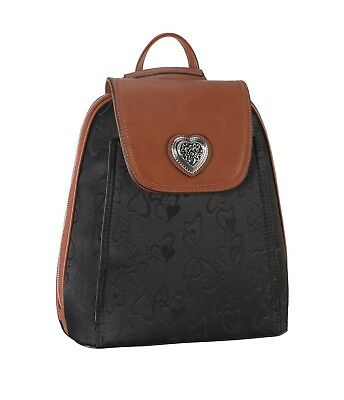 Rimen & Co. PU Leather & Fabric Heart Print Pattern Backpack & Wallet 2 Pieces