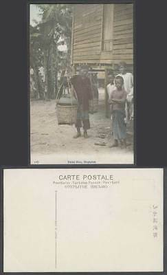 Singapore Old Hand Tinted Postcard MALAY SHOP Native Coolie Boys House on Stilts
