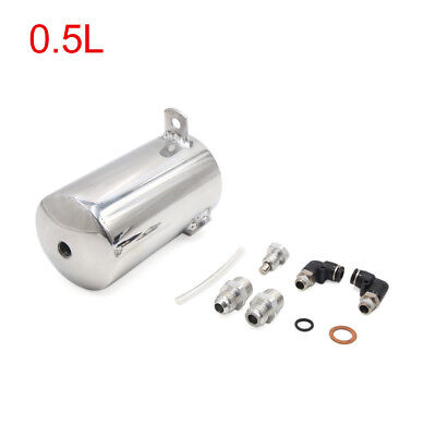 Universal 0.5L Silver Tone Car Coolant Overflow Radiator Water Tank Bottle Set