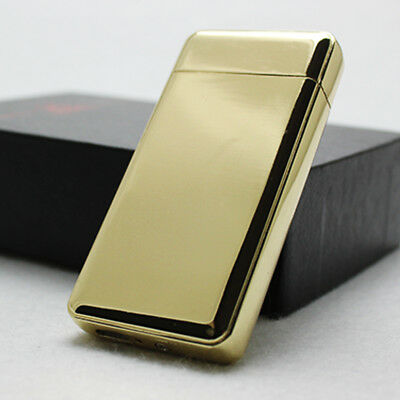 Gold Dual Arc Electric USB Lighter Rechargeable Flameless Windproof Tesla Plasma