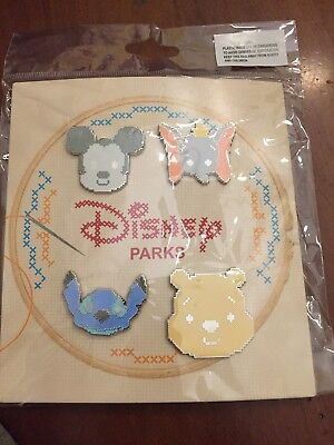 Disney Parks Trading Cross Stitch Booster Pin Set Dumbo Pooh Mickey Mouse 4 Pack