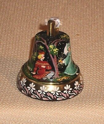 Vintage Russian Soviet Brass BELL Miniature Hand Painting Fairy Tale Decor 384s