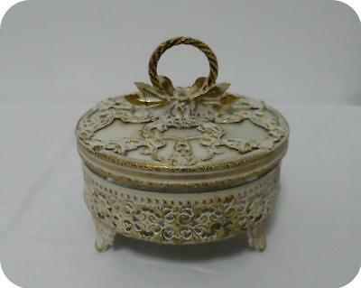 Shabby Vtg Chic Ormolu Filigree & Guilloche Flowers & Glass Jewerly Box