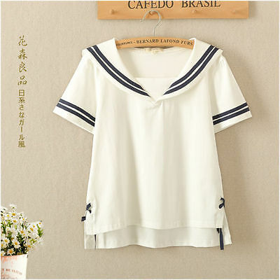 Loose T-Shirt Tops Cotton Japanese Sweet Mori Girl Sailor Collar Preppy Style