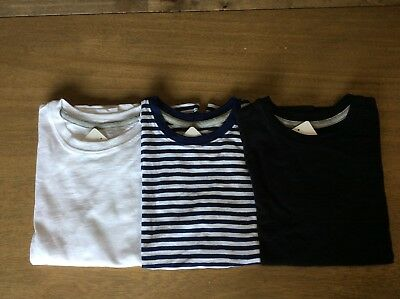 EDDIE BAUER - Boys Short Sleeve Top T-Shirt - black, white or blue stripe -- NEW