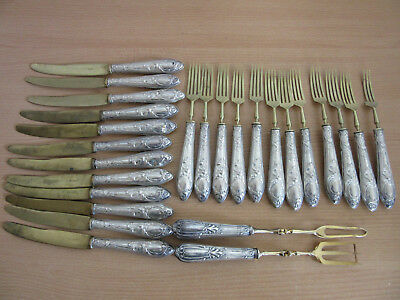 26pc Antique .800 Coin Silver & Brass Solingen German Flatware set forks, knives