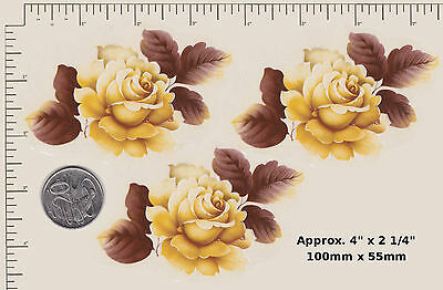 """3 x Waterslide ceramic decals Yellow rose Flower Floral  4"""" x 2 1/4""""  PD78a"""