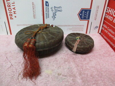 LOT OF TWO Vintage CHINESE WICKER SEWING BASKETS with coin and tassel