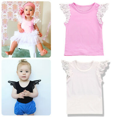 Infant Baby Girls Summer Lace Flutter Sleeve T-Shirt Casual Top Blouse Clothes