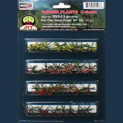 """Flower Plants 3/4"""" tall O-scale, Red, Pink, Yellow, Purple, 30/pk"""