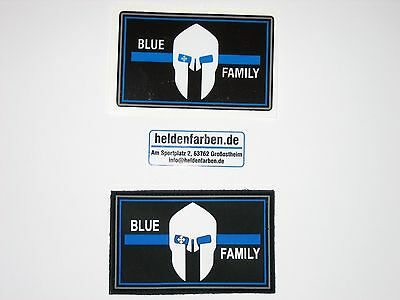 Klettpatch & Aufkleber ca. 8 x 5 cm blue family thin blue line Polizei police