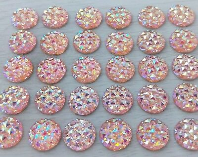 10/20/50pcs - 12mm Pink Sparkle Cabochons Unicorn Mermaid Princess Resin FBC111