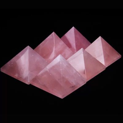 60mm Beautiful Natural Rose Pink Quartz Crystal Pyramid Healing