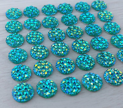 10/20/50pc - 12mm Aquamarine Cabochons Resin Cabs - Sparkly Mermaid    FBC115