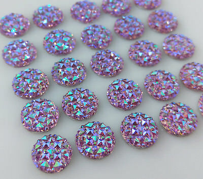 12mm Sparkle Purple Cabochons 10/20/50pc - Resin Flat Back Cabs   FBC110