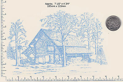 """1 Ceramic decal Decoupage Drawing Old House Blue Log Cabin 7 1/2"""" x 4 3/4"""" PD73a"""