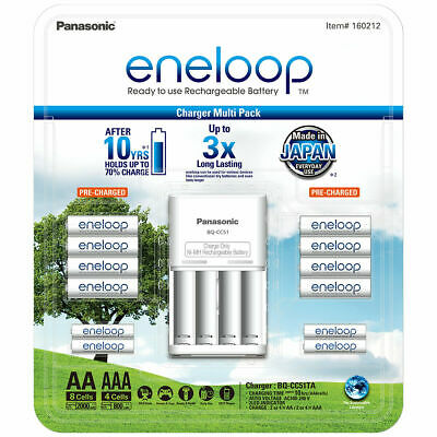 NEW Panasonic Eneloop Rechargeable NiMH Batteries 8 * AA + 4 * AAA + Charger