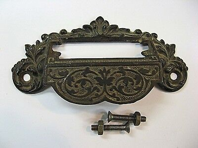 Antique 1800's Victorian Cast Iron Apothecary Drawer/Bin Pull With Label Slot