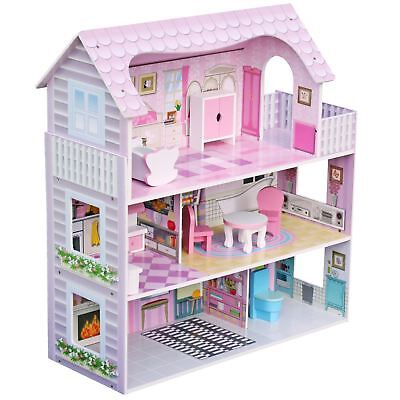Luxury 3 Storey Miniature Wooden Dolls House With Furniture Toy Play Set Gift