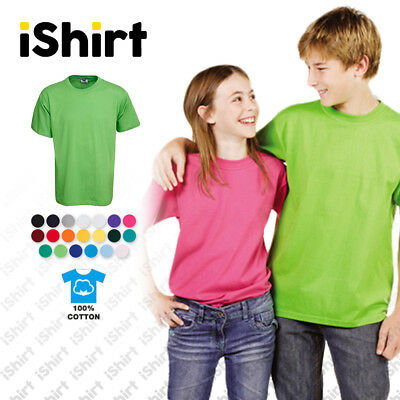 Kids T-Shirt 100% Cotton I Plain Blank Unisex Tees I Regular Fit I Size 0-14