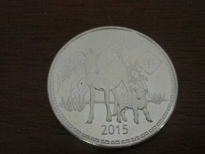 2015 Year of the Goat Ram 1 OZ .999 Fine Silver Round Coin