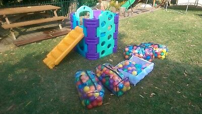 plastic cubby house with slide & stairs plastic ball pit modular childrens climb