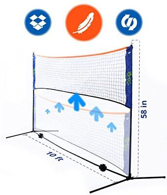 Portable 10 Foot Long and 5 Foot High - Adjustable Height Badminton Volleybal...
